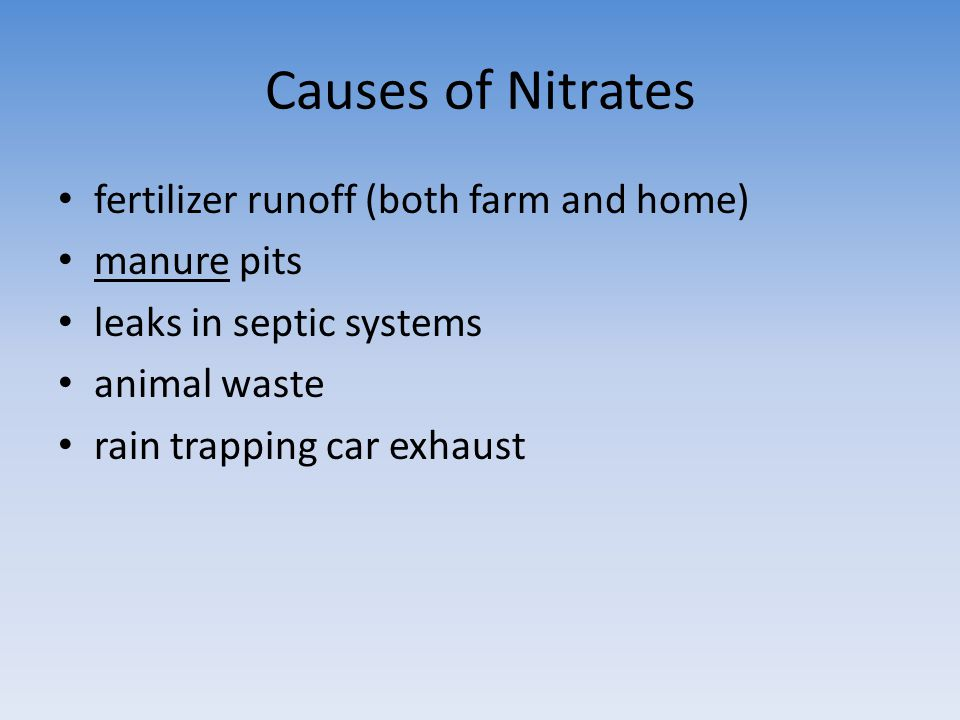 Causes of Nitrates fertilizer runoff (both farm and home) manure pits