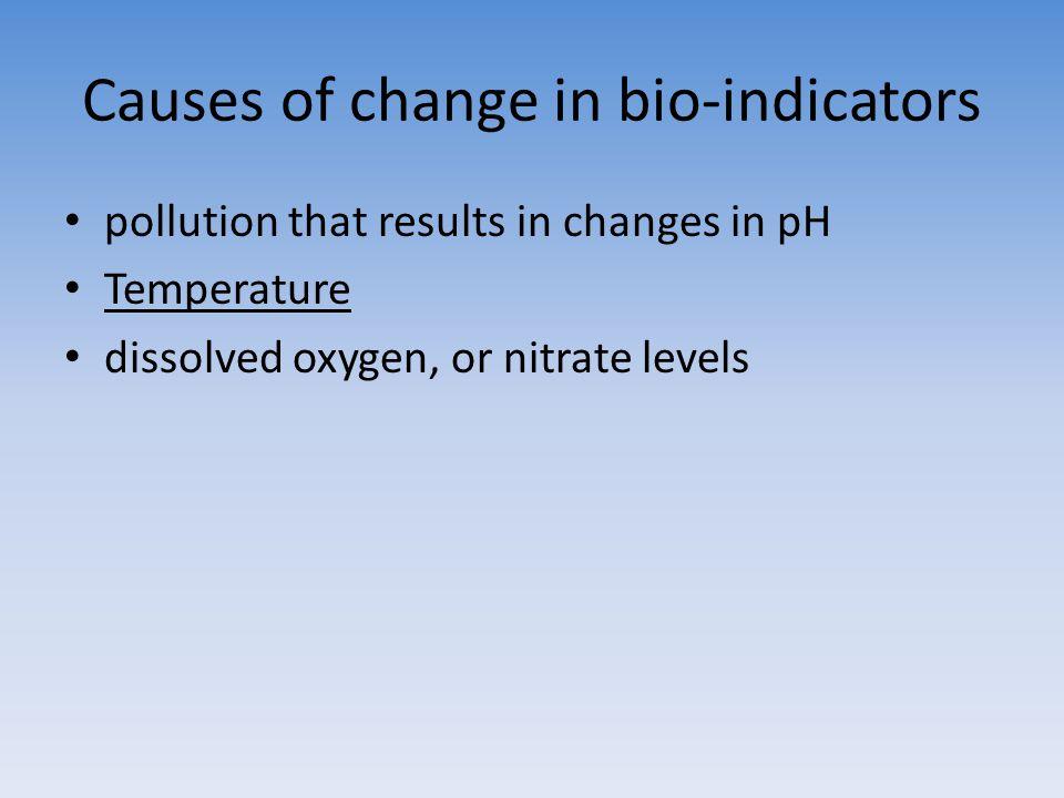 Causes of change in bio-indicators