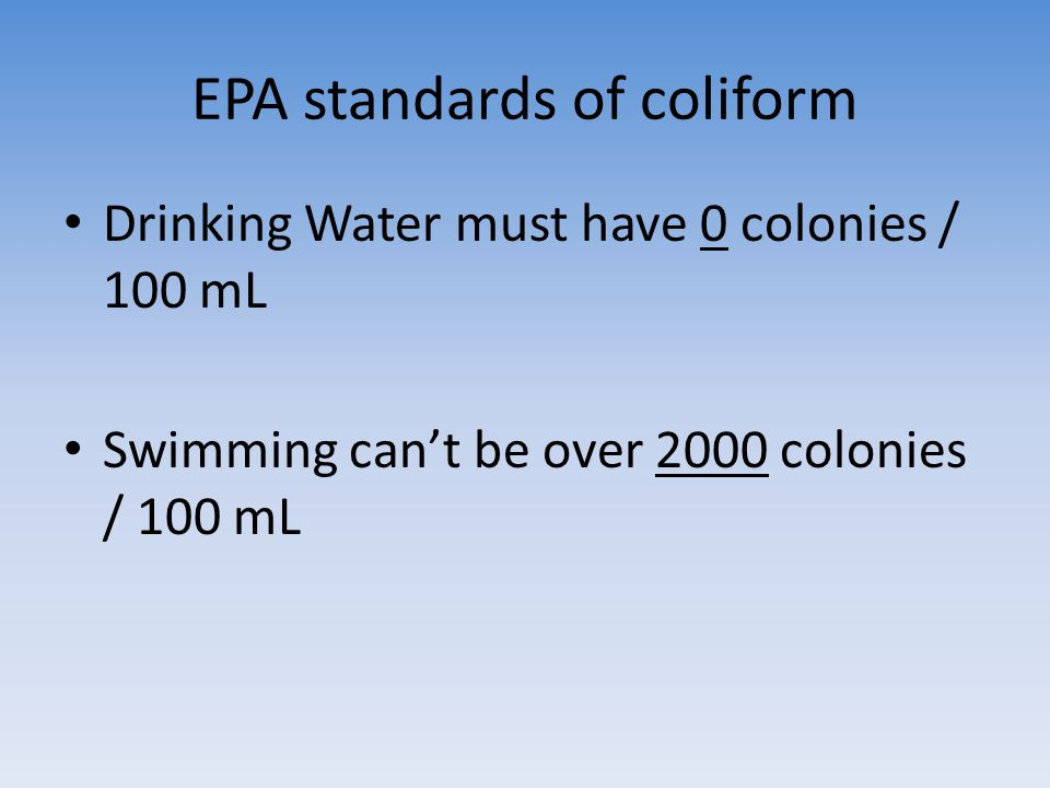 EPA standards of coliform