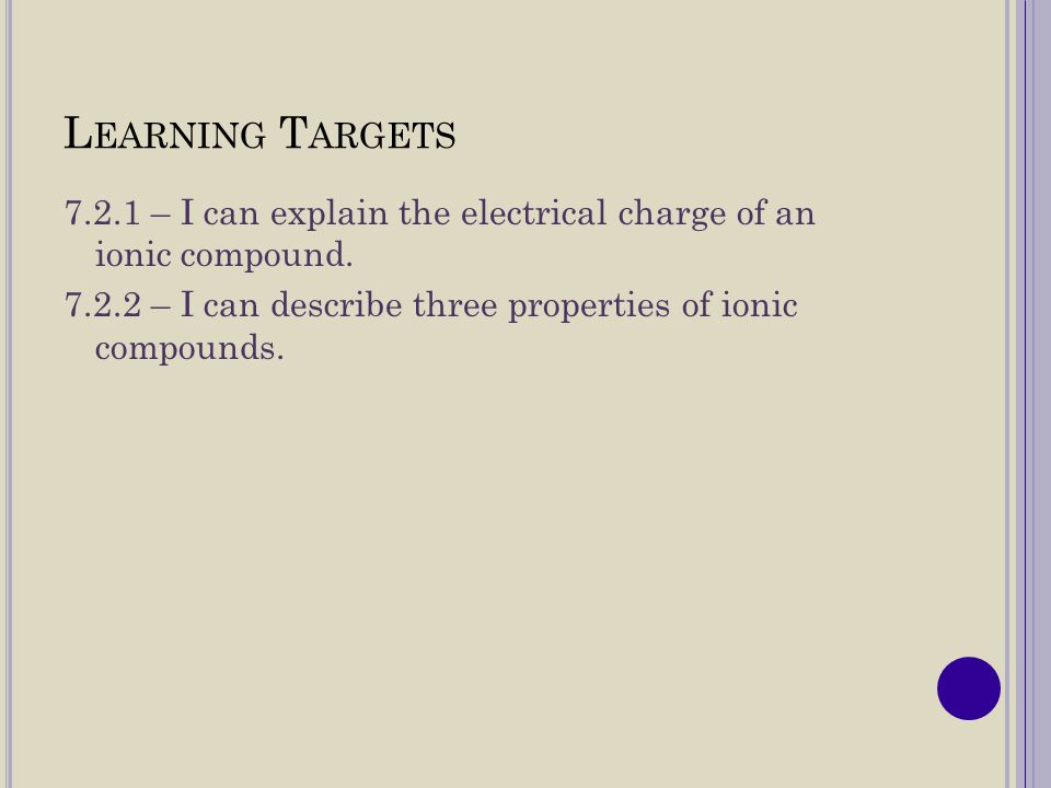 Learning Targets 7.2.1 – I can explain the electrical charge of an ionic compound.