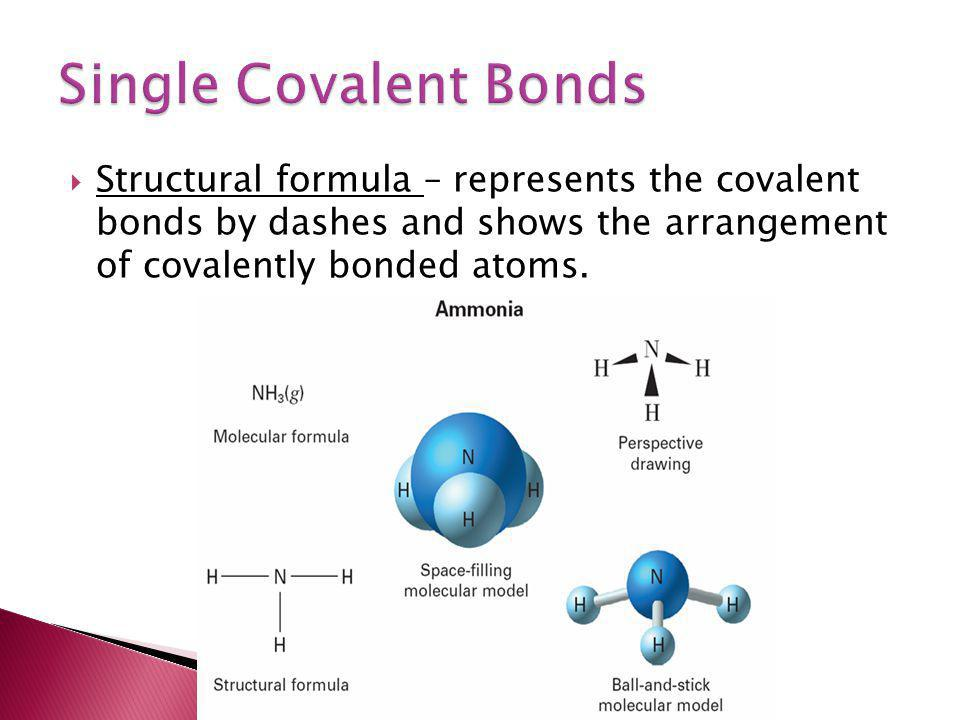 Single Covalent Bonds Structural formula – represents the covalent bonds by dashes and shows the arrangement of covalently bonded atoms.