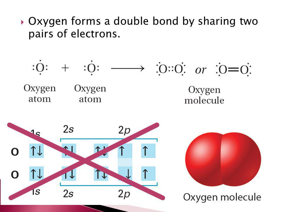 Oxygen forms a double bond by sharing two pairs of electrons.