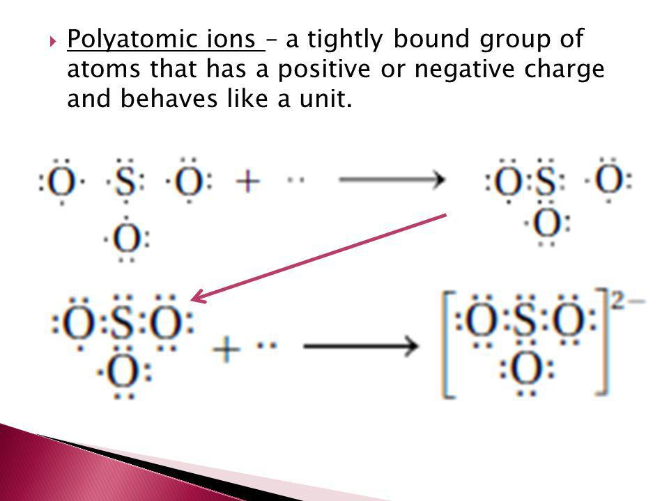 Polyatomic ions – a tightly bound group of atoms that has a positive or negative charge and behaves like a unit.
