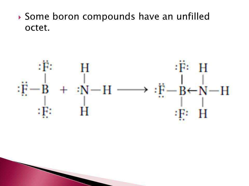 Some boron compounds have an unfilled octet.