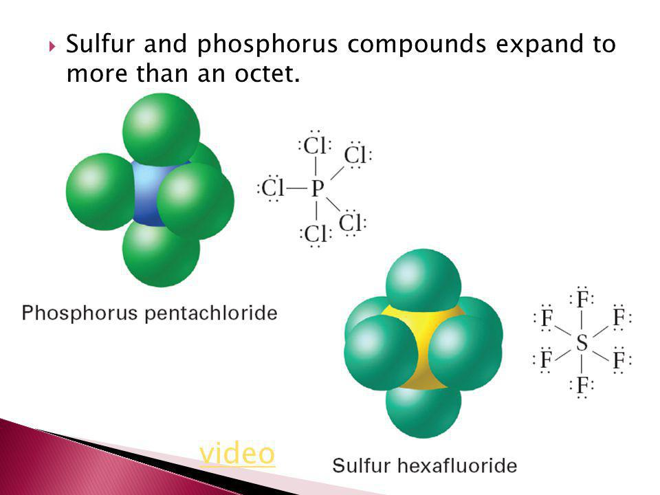 Sulfur and phosphorus compounds expand to more than an octet.