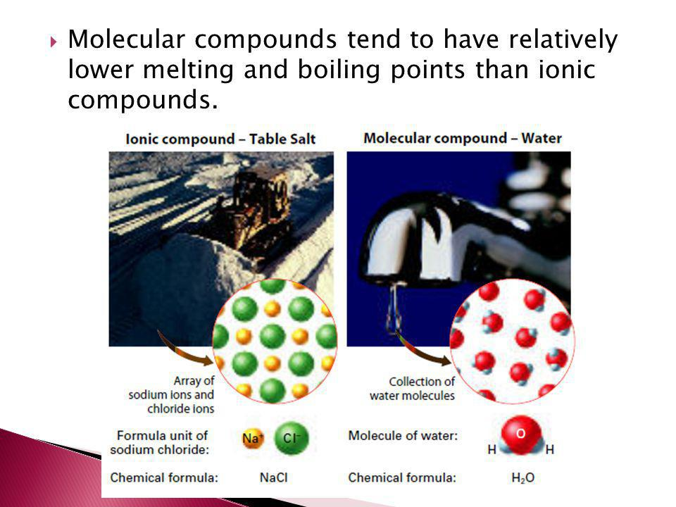 Molecular compounds tend to have relatively lower melting and boiling points than ionic compounds.