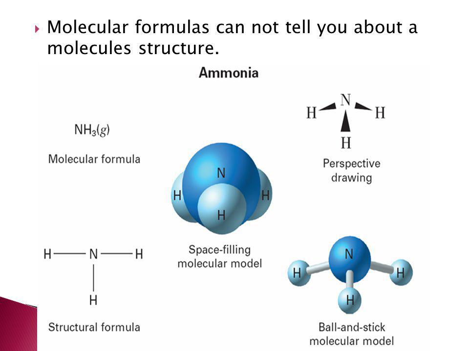 Molecular formulas can not tell you about a molecules structure.