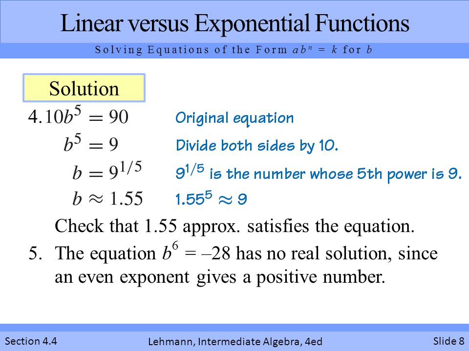 Linear versus Exponential Functions