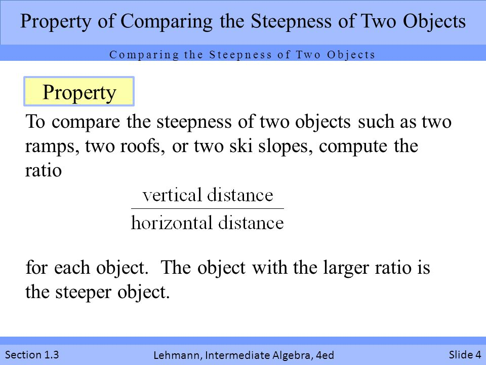 Property Property of Comparing the Steepness of Two Objects