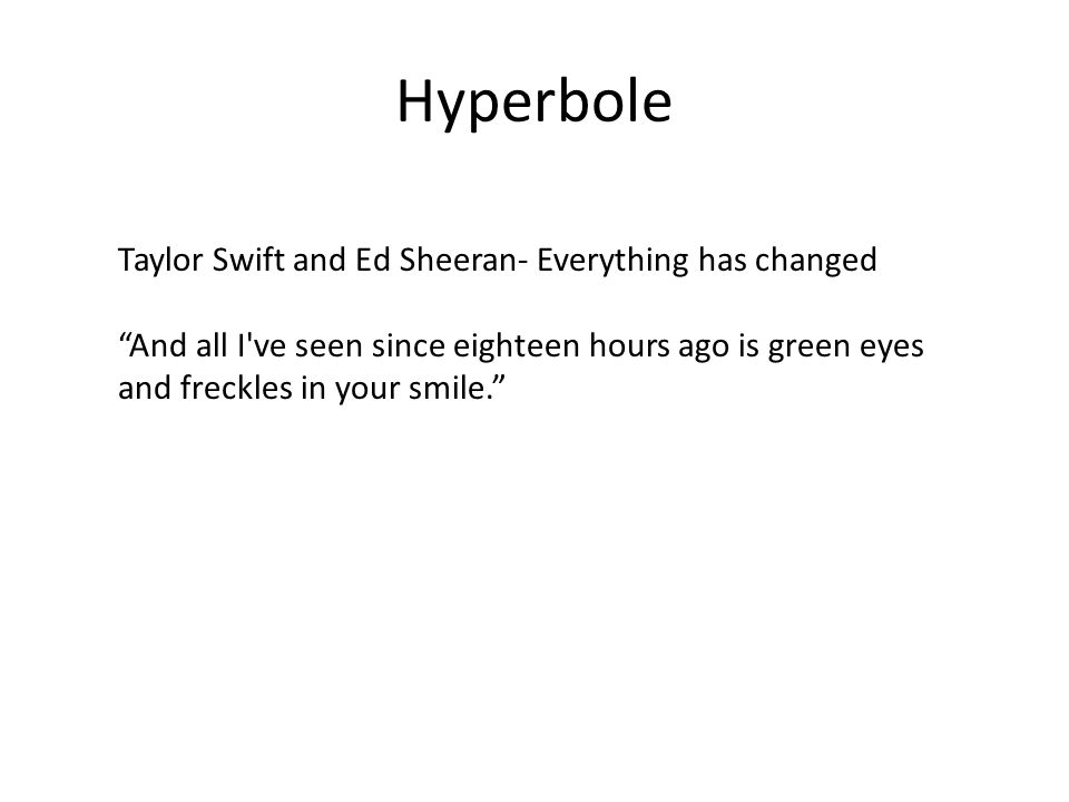 Hyperbole Taylor Swift and Ed Sheeran- Everything has changed