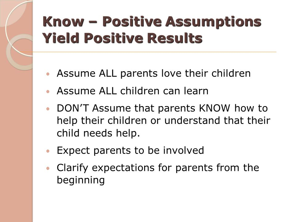 Know – Positive Assumptions Yield Positive Results