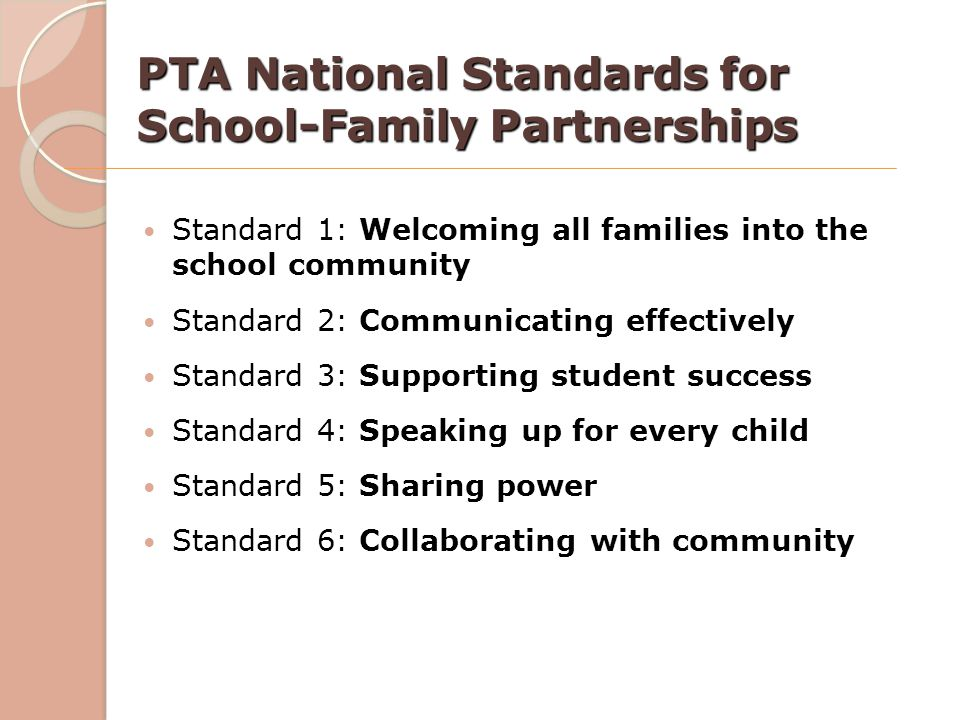 PTA National Standards for School-Family Partnerships