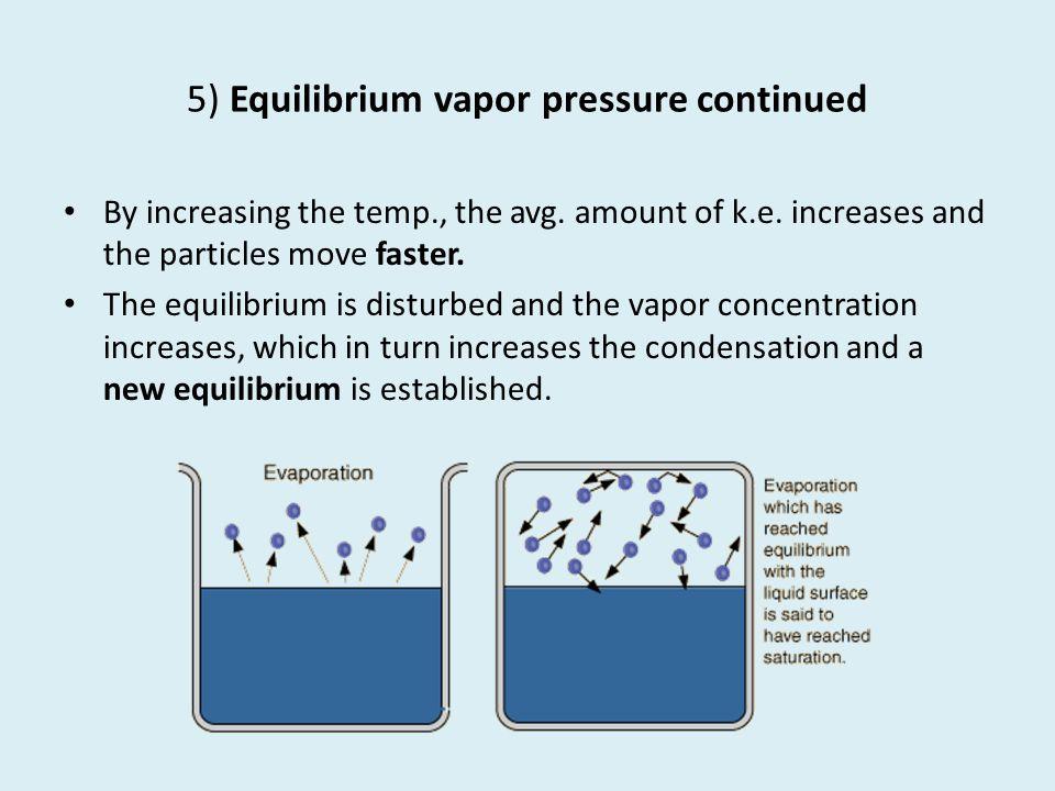 5) Equilibrium vapor pressure continued