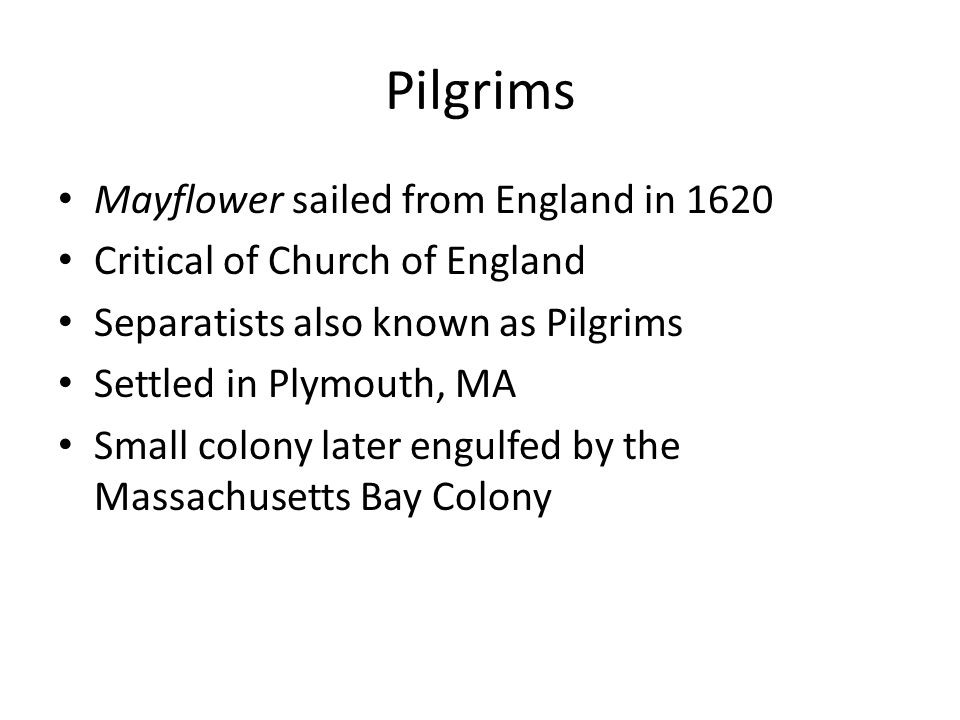 Pilgrims Mayflower sailed from England in 1620