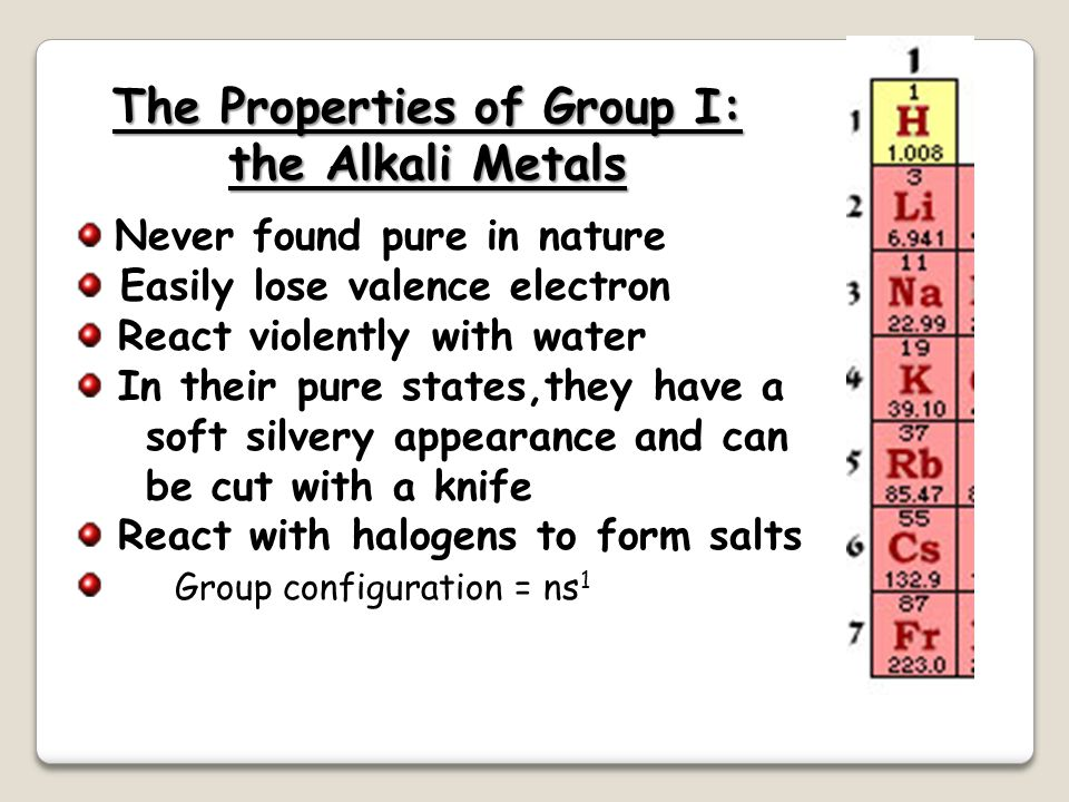 The Properties of Group I: the Alkali Metals