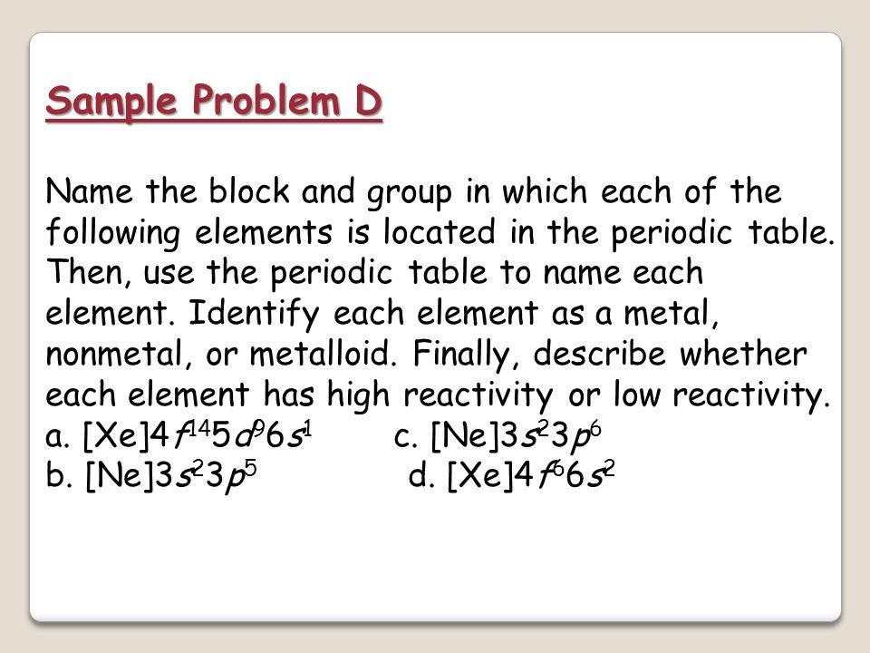 Sample Problem D