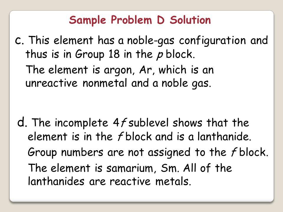 Sample Problem D Solution