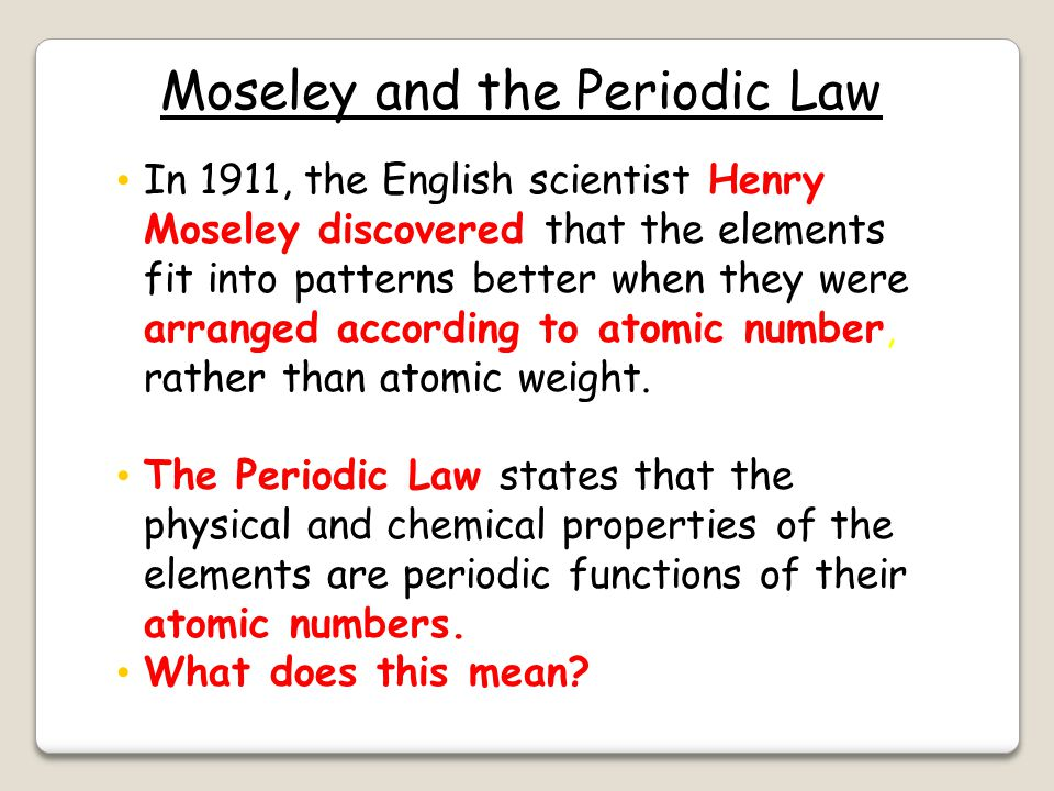 Moseley and the Periodic Law