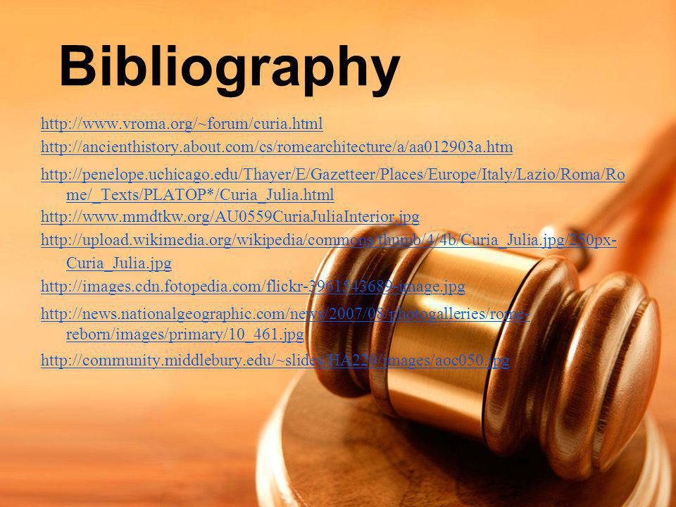 Bibliography http://www.vroma.org/~forum/curia.html
