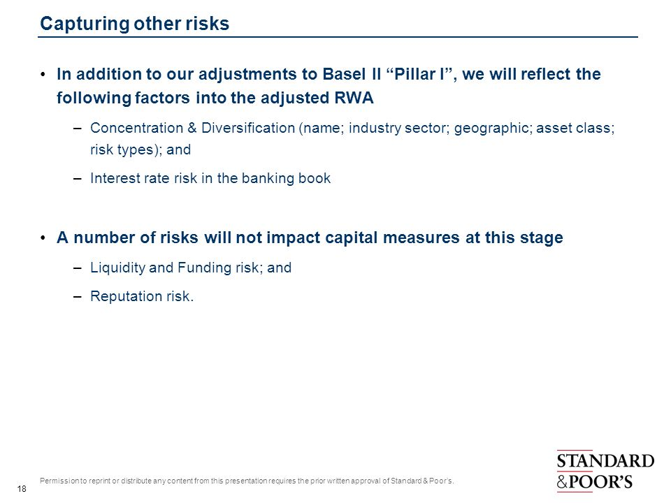Capturing other risks In addition to our adjustments to Basel II Pillar I , we will reflect the following factors into the adjusted RWA.