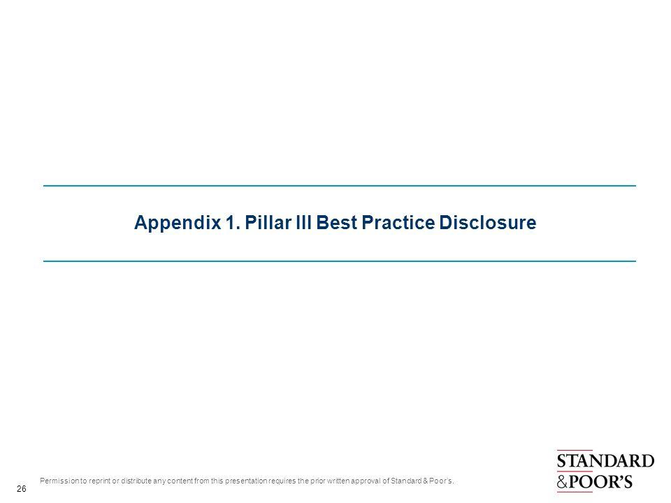 Appendix 1. Pillar III Best Practice Disclosure