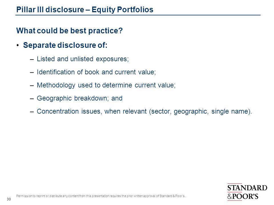 Pillar III disclosure – Equity Portfolios