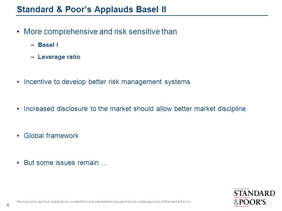 Standard & Poor's Applauds Basel II