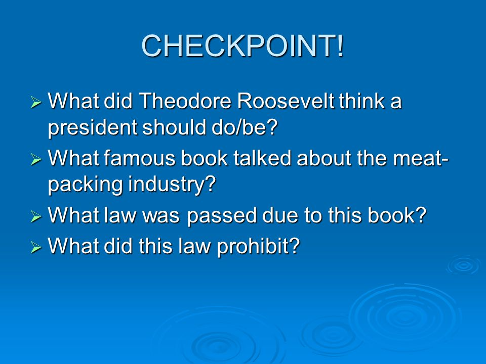 CHECKPOINT! What did Theodore Roosevelt think a president should do/be What famous book talked about the meat-packing industry