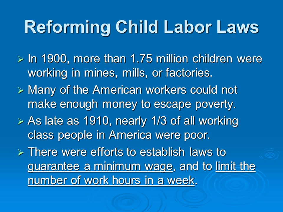 Reforming Child Labor Laws