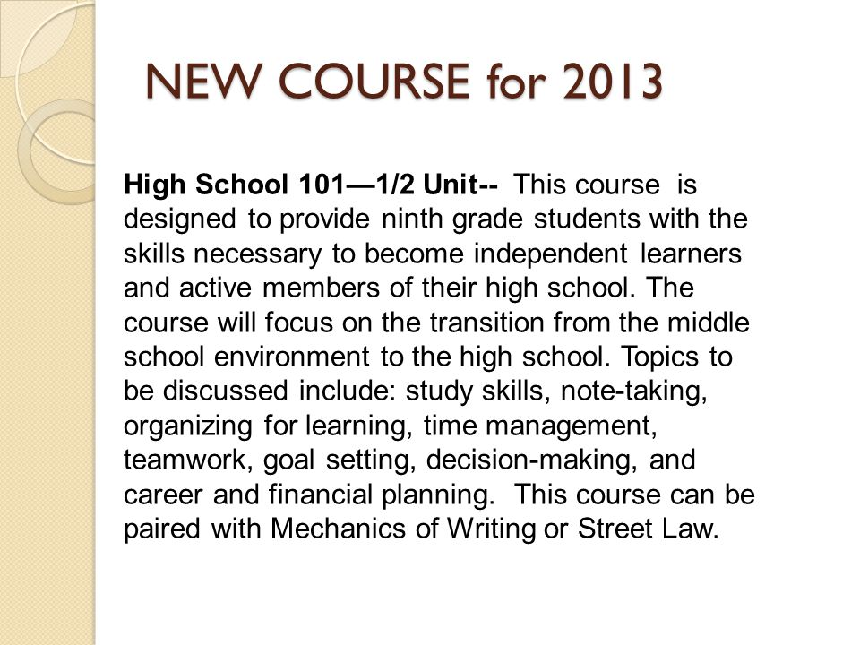 NEW COURSE for 2013