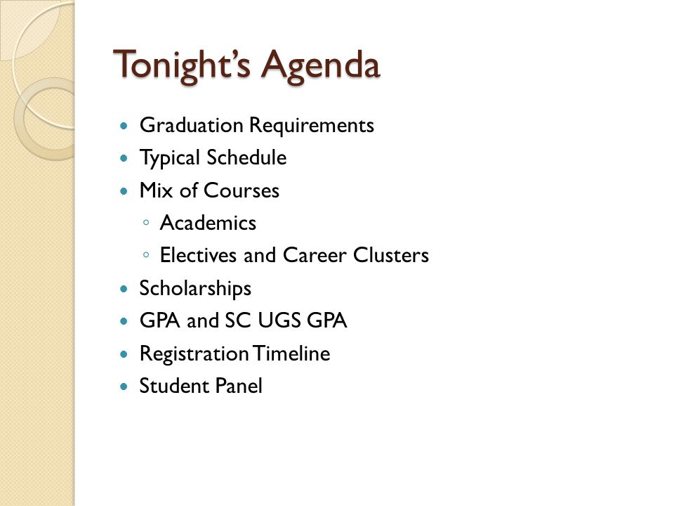 Tonight's Agenda Graduation Requirements Typical Schedule