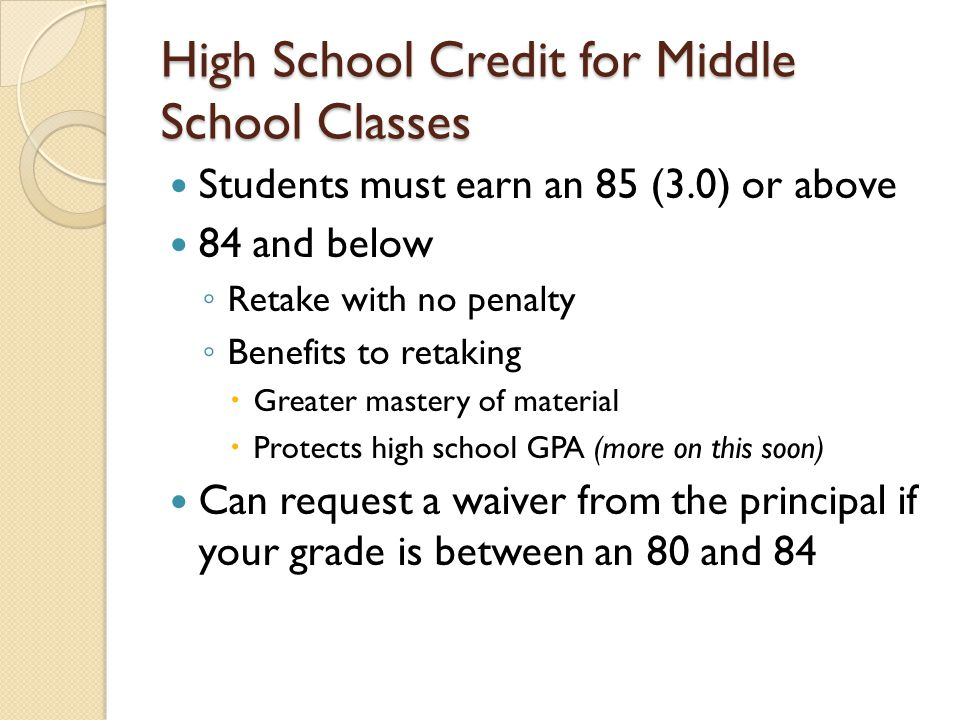 High School Credit for Middle School Classes