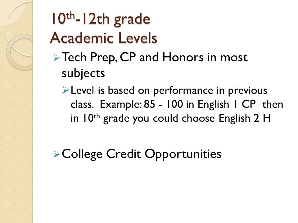 10th-12th grade Academic Levels