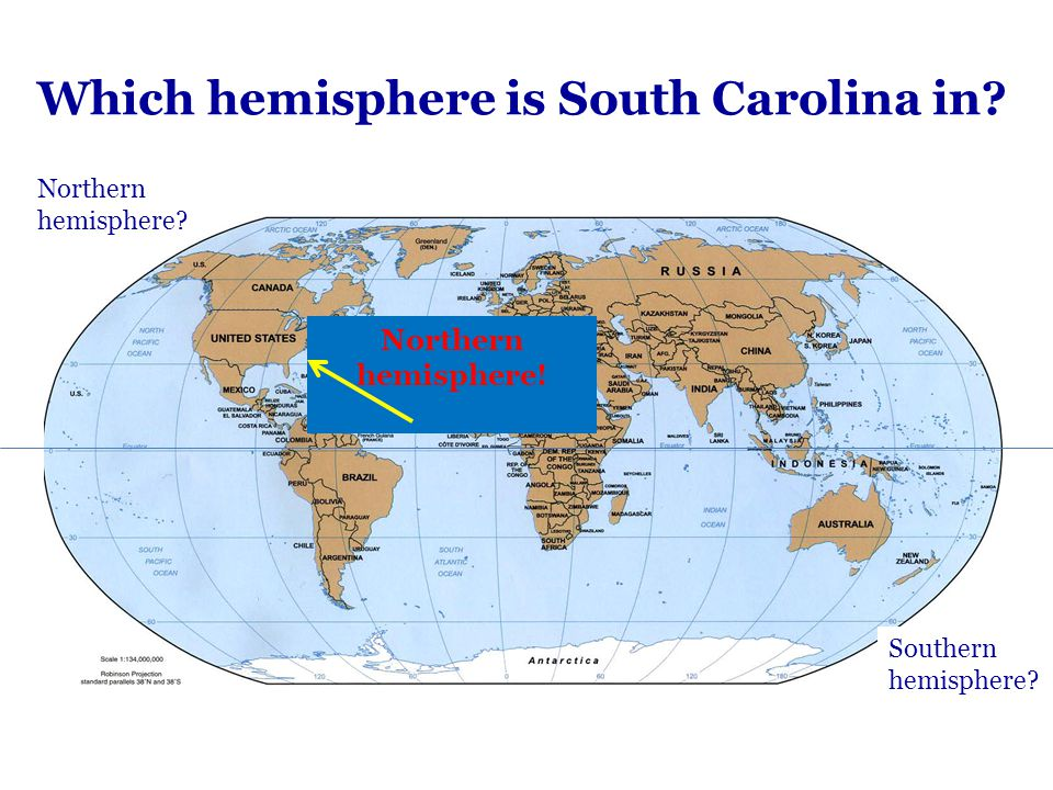 Which hemisphere is South Carolina in