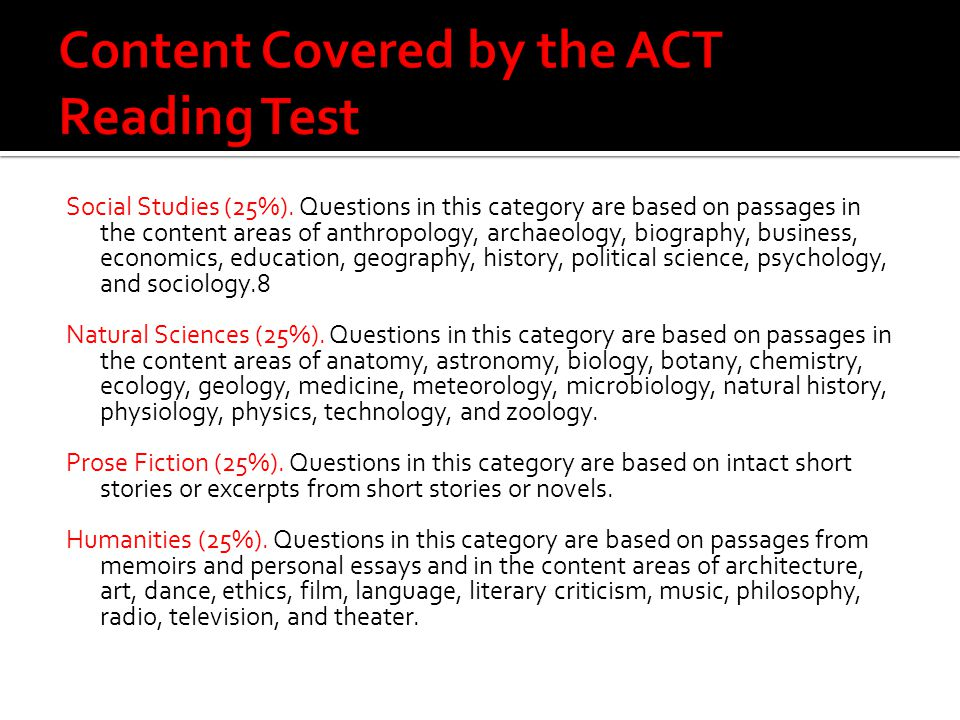 Content Covered by the ACT Reading Test