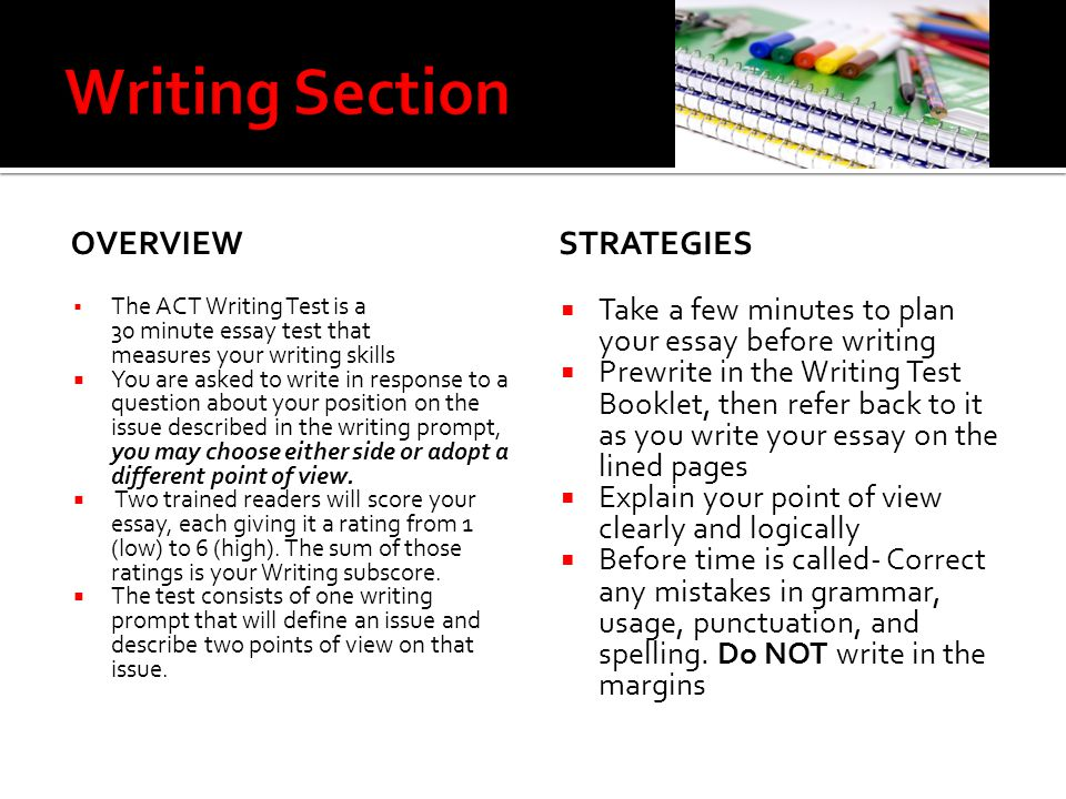 Writing Section overview Strategies