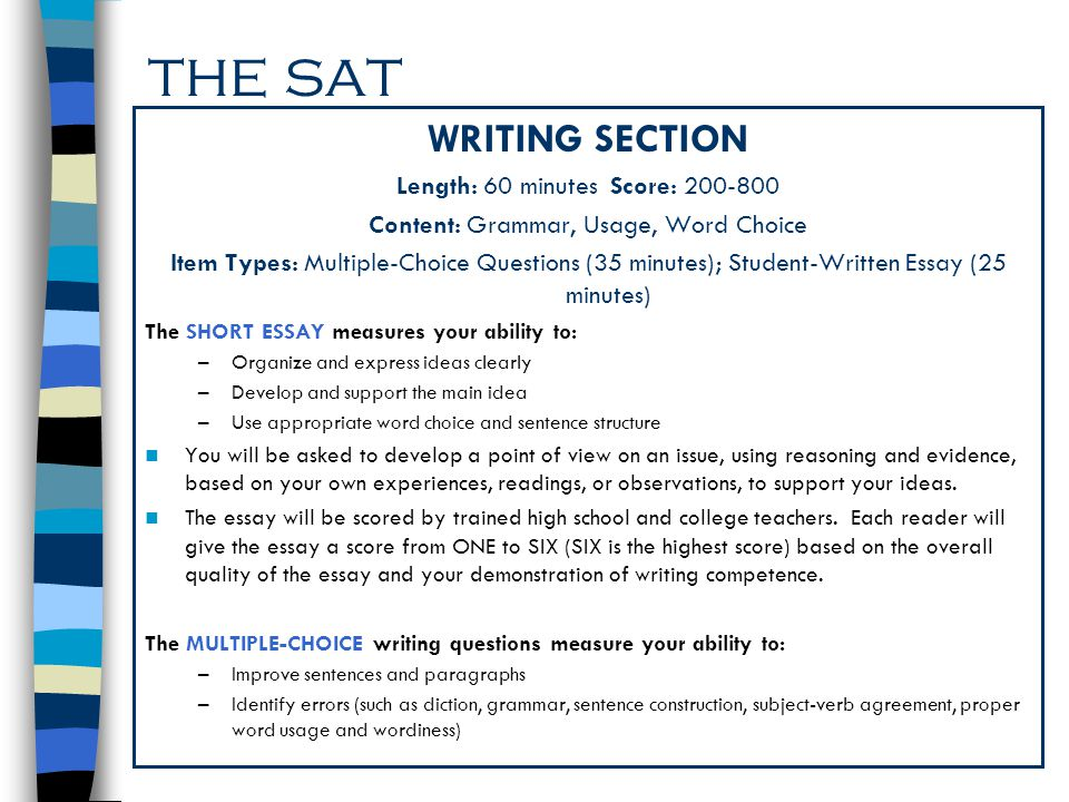 the sat WRITING SECTION Length: 60 minutes Score:
