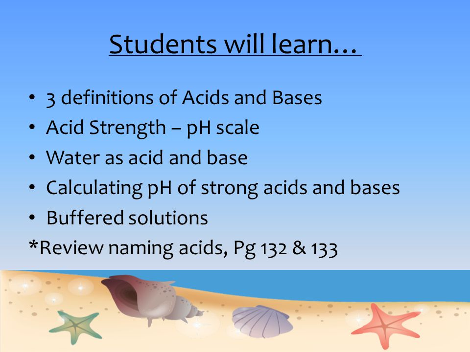 Students will learn… 3 definitions of Acids and Bases