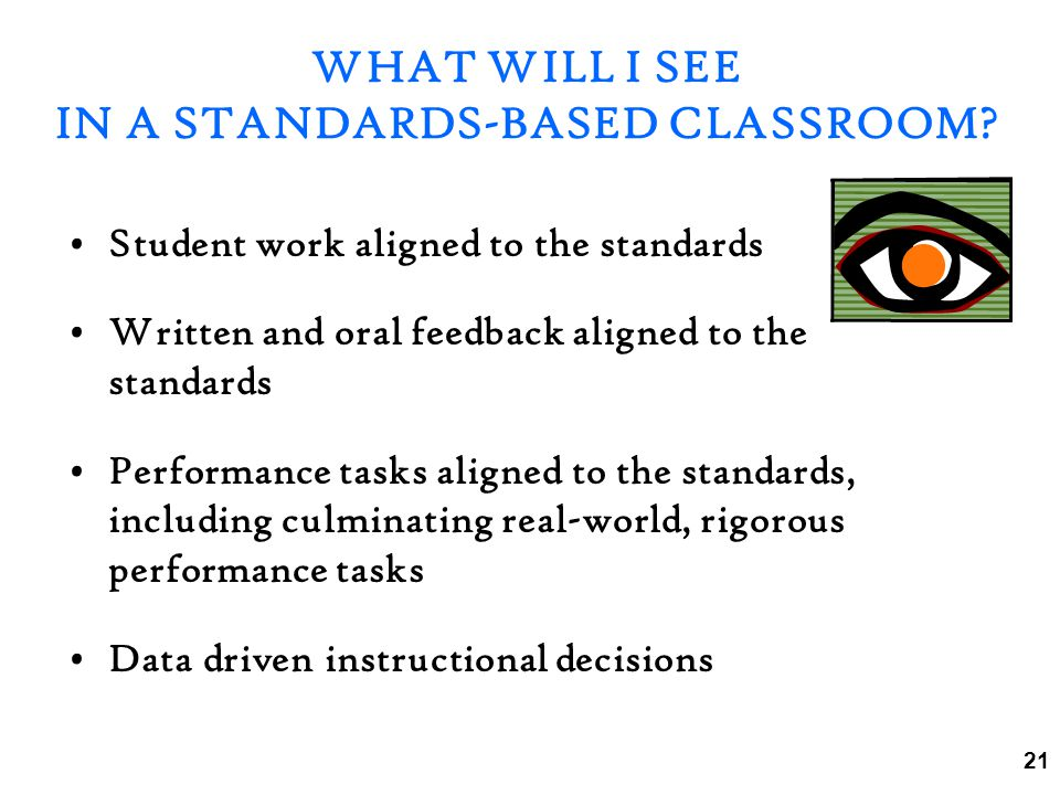 WHAT WILL I SEE IN A STANDARDS-BASED CLASSROOM