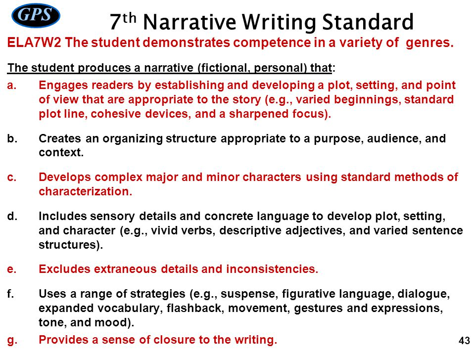 7th Narrative Writing Standard