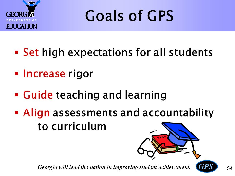 Goals of GPS Set high expectations for all students Increase rigor