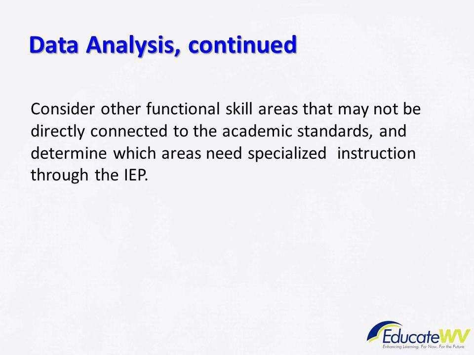 Data Analysis, continued