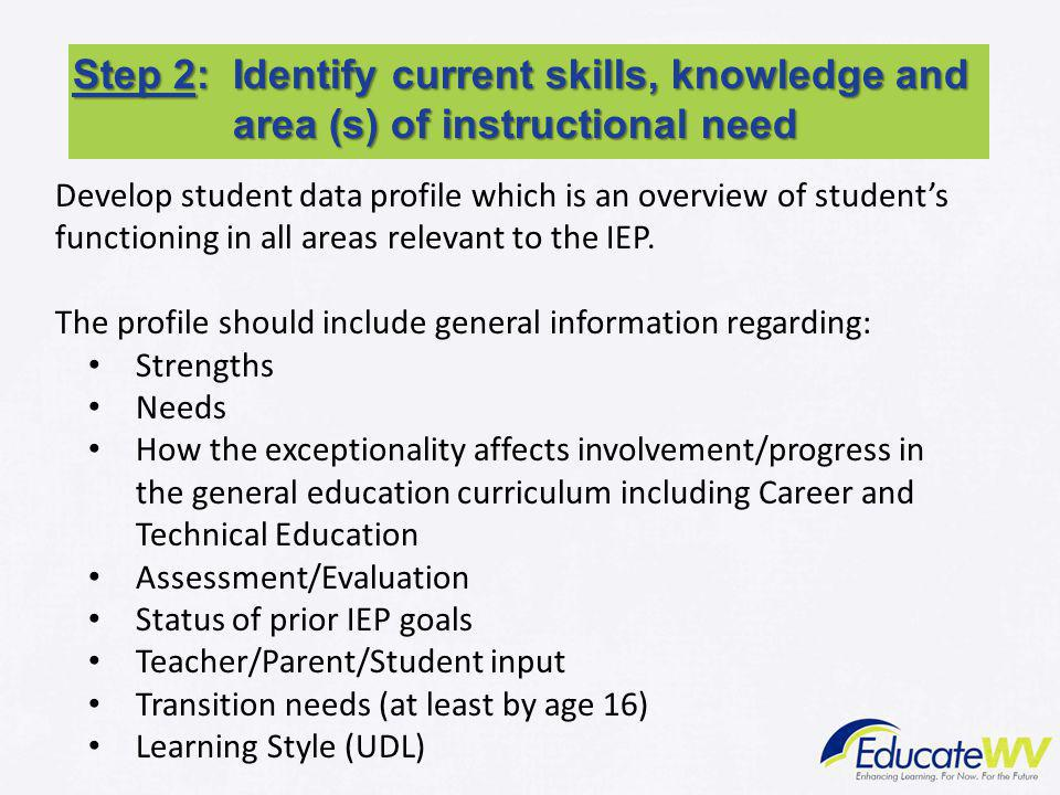 Step 2: Identify current skills, knowledge and area (s) of instructional need