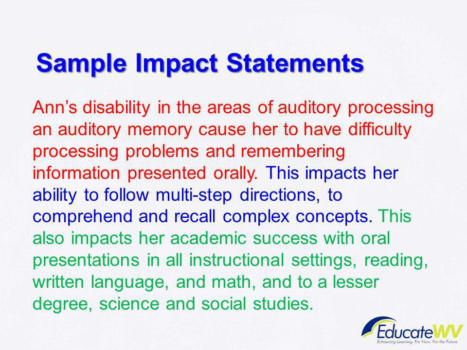 Sample Impact Statements