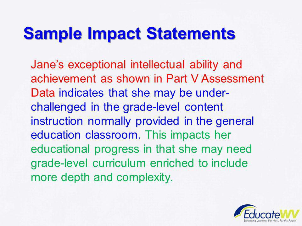 Sample Impact Statements