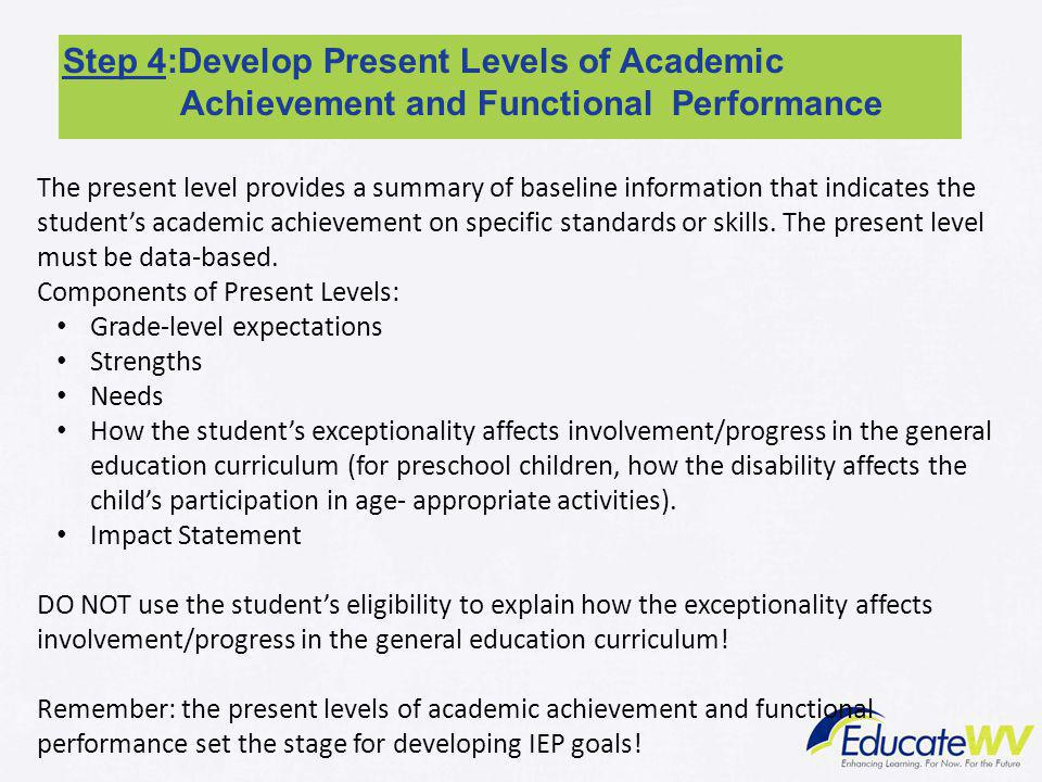 Step 4:Develop Present Levels of Academic Achievement and Functional Performance