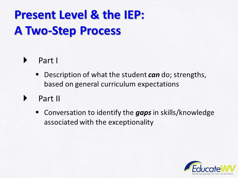 Present Level & the IEP: A Two-Step Process