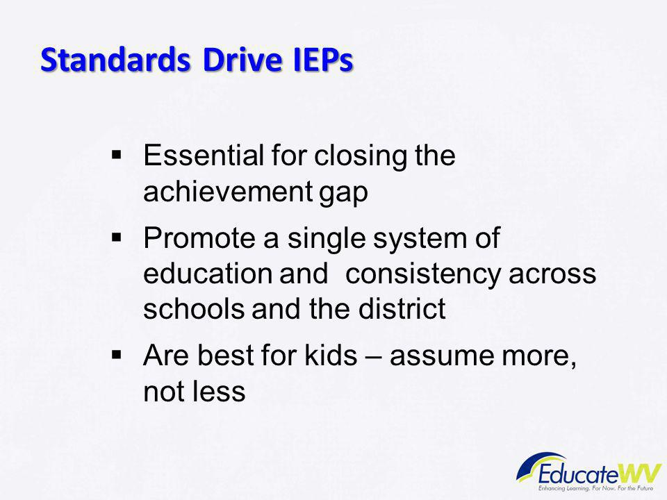 Standards Drive IEPs Essential for closing the achievement gap