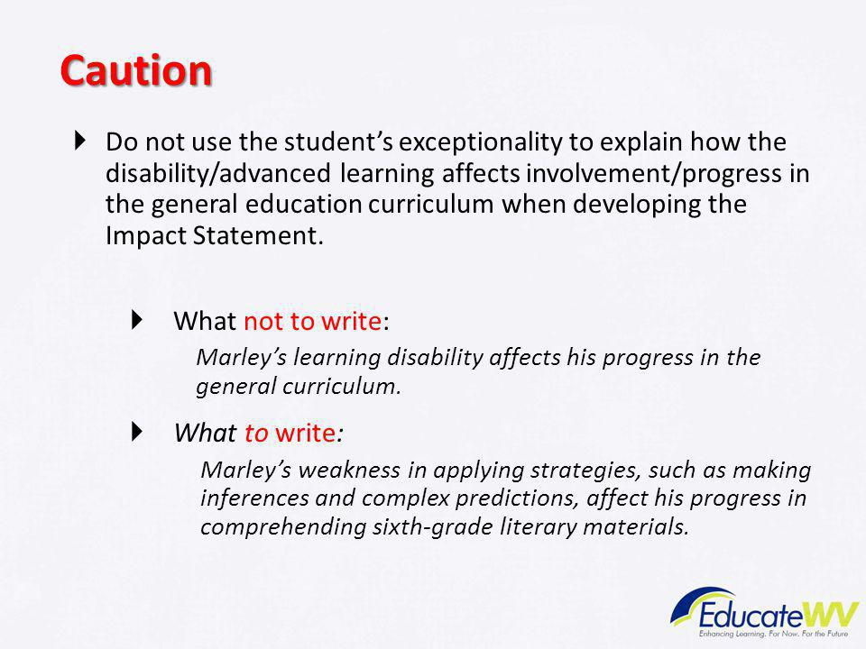 Standards-Based IEPs Caution.
