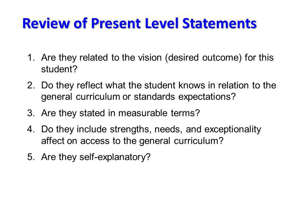 Review of Present Level Statements